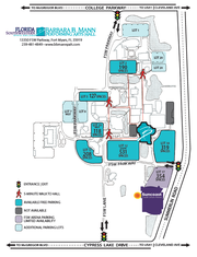 This map shows approved parking lots for people visiting Mann Hall or Suncoast Credit Union Arena on the FSW campus. However, FSW officials say you can park in any lot at night, as long as the gates are up.
