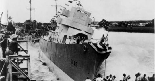 The USS Leopold, shown here being launched, was lost in battle in March 1944 when it was torpedoed during a convoy run in the North Atlantic. A former Lehigh Acres resident was one of 28 U.S. Coast Guards sailors who survived the attack and was recently posthumously awarded.