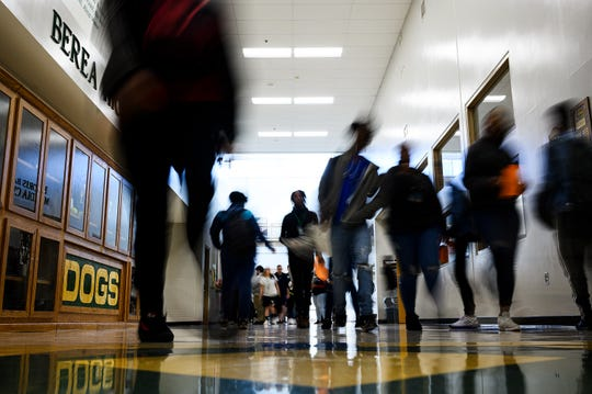 Berea High School students walk through the halls Monday, Feb. 3, 2020.