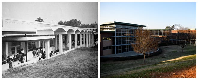 Beck High School as seen in the class of 1968-69 yearbook is pictured on the left compared to modern-day Sterling School on the right. Sterling School was built where Beck used to stand.