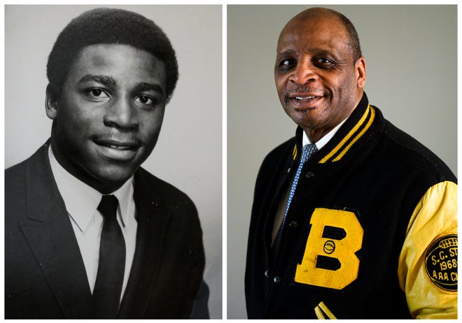 Ernest Hamilton wears his Beck High School letterman jacket in his home. Hamilton graduated from Beck in 1969, the last graduating class and part of the first group of students that attended Beck from freshman year to senior year.