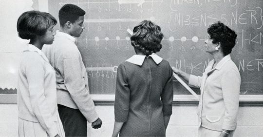 Students learn about linear inequalities in this provided photo from the 1968 Sterling High School yearbook.