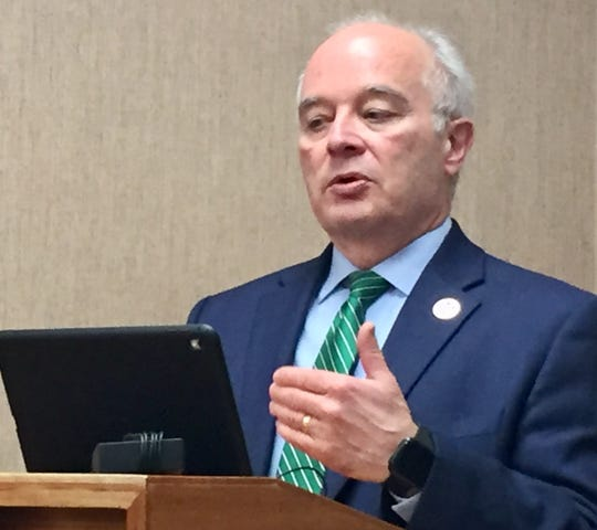 Mark Mattioli, consumer protection chief for state of Montana, talks during a Feb. 3 news conference on opioids.
