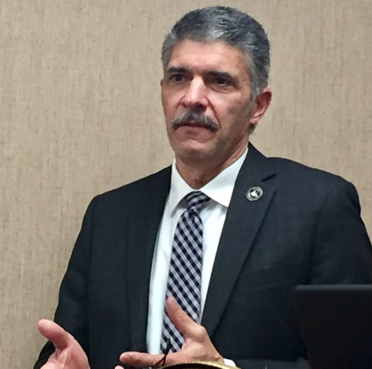 Bryan Lockerby, Division Administrator Division of Criminal Investigation speaks Feb. 3 to reporters.