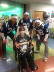 When the Indianapolis Colts visited Riley, they teased Josh Roy about his Patriots gear.