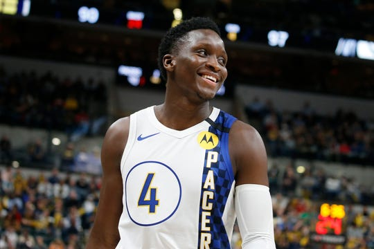 Feb 3, 2020; Indianapolis, Indiana, USA; Indiana Pacers guard Victor Oladipo (4) smiles in a game against the Dallas Mavericks during the fourth quarter at Bankers Life Fieldhouse. Mandatory Credit: Brian Spurlock-USA TODAY Sports