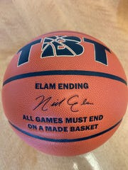 The official TBT ball includes Nick Elam's autograph.