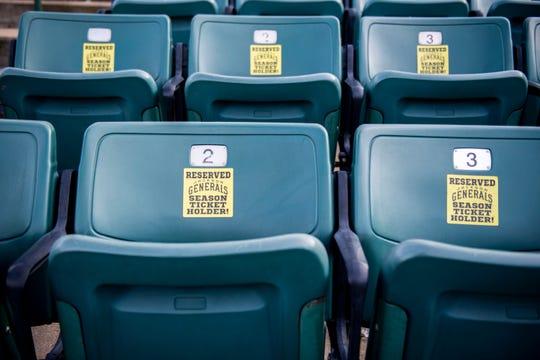 "Seats at the Ballpark at Jackson are labeled ""reserved"" for Generals season tickets holders."