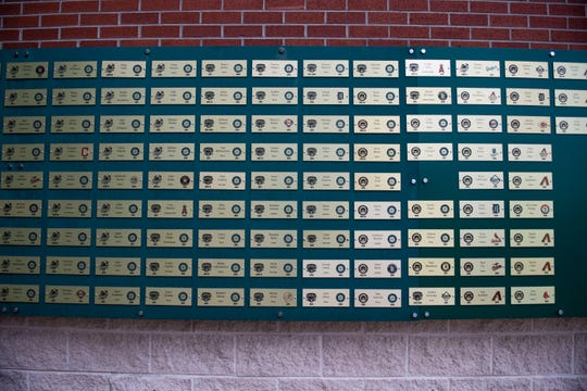 Plaques of previous players of the Jackson Generals who moved to the Major League Baseball teams are displayed at the Ballpark at Jackson in Jackson, Tenn., Friday, Jan. 17, 2020.