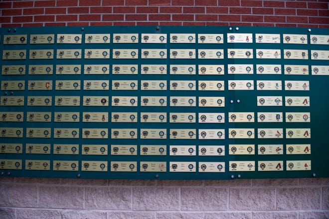 Plaques of previous Jackson Generals players who moved on to Major League Baseball teams are displayed at the Ballpark at Jackson in Jackson, Tenn., Friday, Jan. 17, 2020.