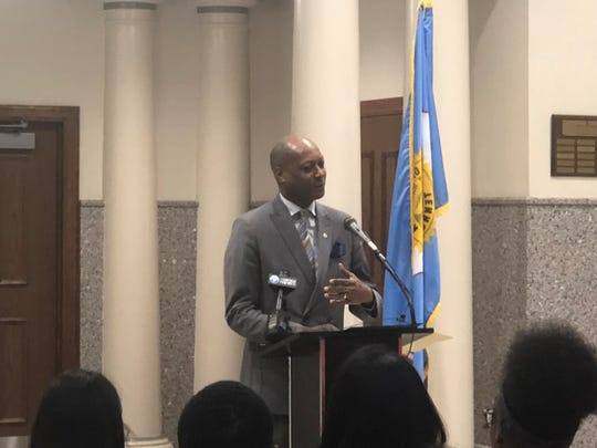 "Five-term Jackson City councilman Ernest Brooks, II speaks during the press conference to start the ""Do The Write Thing"" Challenge, in which students evaluate and provide solutions to youth violence."