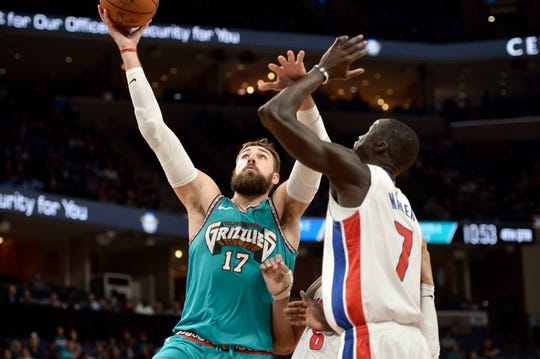 Memphis Grizzlies center Jonas Valanciunas (17) shoots against Detroit Pistons forward Thon Maker (7) in the second half on Monday, Feb. 3, 2020, in Memphis, Tenn.