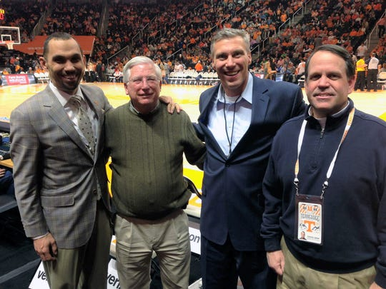 Over the years at UT, David Grim (right) has worked alongside some top professionals in the collegiate sports information business like (from left) Tom Satkowiak, Bud Ford and  Craig Pinkerton.