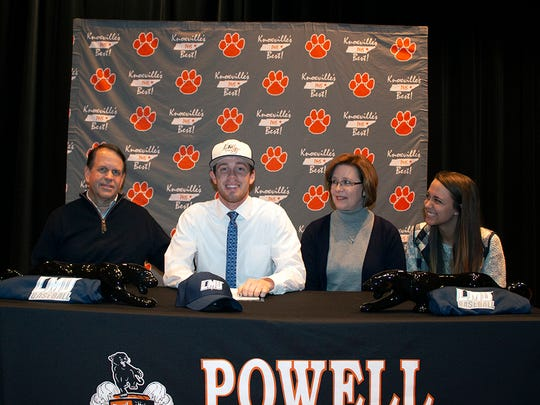 In the 2018-19 school year, when Matt Grim (second from left) signed to play baseball at Lincoln Memorial University, he was flanked by David Grim (father), Kathy Grim (mother) and Sarah Grim (sister).