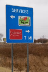 A service sign on the I-65 north off-ramp to Ind. 38, Tuesday, Feb. 4, 2020 in Dayton.