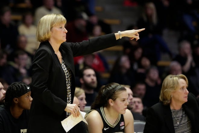 Purdue head coach Sharon Versyp motions during the third quarter of a NCAA women's basketball game, Monday, Feb. 3, 2020 at Mackey Arena in West Lafayette.