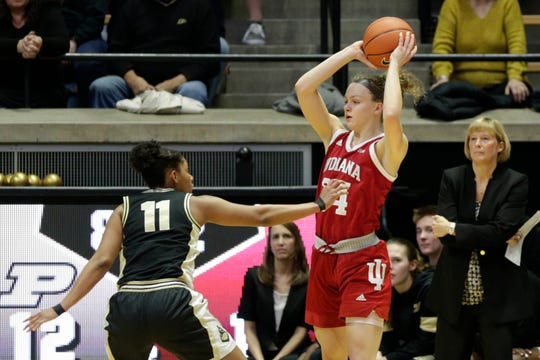 Purdue guard Dominique Oden (11) guards Indiana guard Grace Berger (34) during the second quarter of a NCAA women's basketball game, Monday, Feb. 3, 2020 at Mackey Arena in West Lafayette.