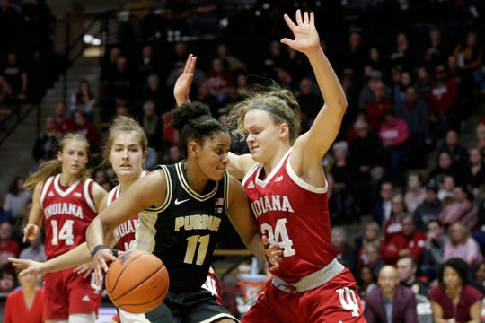 Purdue guard Dominique Oden (11) drives against Indiana guard Grace Berger (34) during the second quarter of a NCAA women's basketball game, Monday, Feb. 3, 2020 at Mackey Arena in West Lafayette.