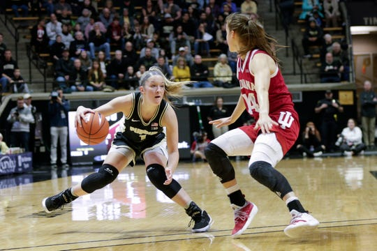 Purdue guard Karissa McLaughlin (1) dribbles against Indiana guard Ali Patberg (14) during the first quarter of a NCAA women's basketball game, Monday, Feb. 3, 2020 at Mackey Arena in West Lafayette.