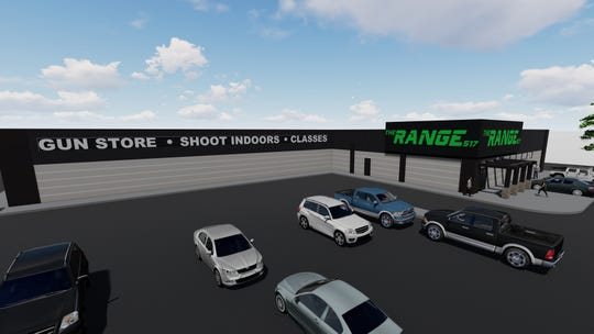 A rendering of renovations planned for a former gym off Saginaw Highway in Delta Township. The property's new owner, Eric Haddad, plans to open The Range 517, a gun shop and indoor shooting range.