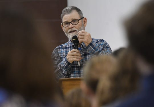 Ron Criswell speaks to the students and faculty at Gilead Christian about his accident and his faith on Tuesday morning.