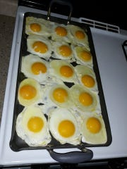 It's nice to have a big griddle to fry eggs when Lovina's daughters and grandchildren come home for breakfast.