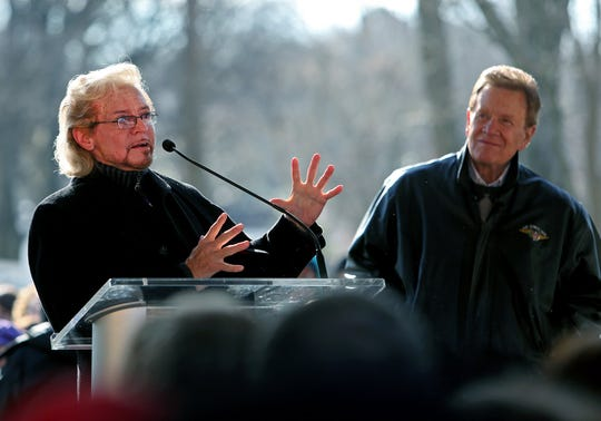Jan. 8, 2014 - Knox Phillips, son of Sun Records founder Sam Phillips, speaks during a ceremony celebrating the birthday of the late Elvis Presley at Graceland. Wink Martindale is at right.