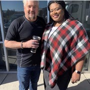 Tamra Patterson, right, pictured with Guy Fieri, is the owner of Tam's Underground Café.