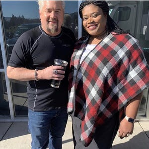 Tamra Patterson (right), pictured with Guy Fieri, will appear on Food Network's popular show Guy's Grocery Games for the third time on Feb. 5.