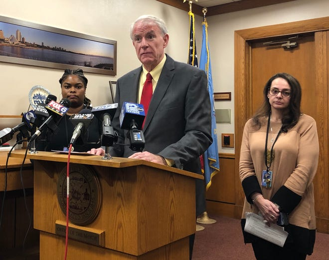 Milwaukee Mayor Tom Barrett speaks at a news conference about the flu and coronavirus Tuesday at City Hall. More than four times as many people have been hospitalized in Milwaukee this season compared with last season.