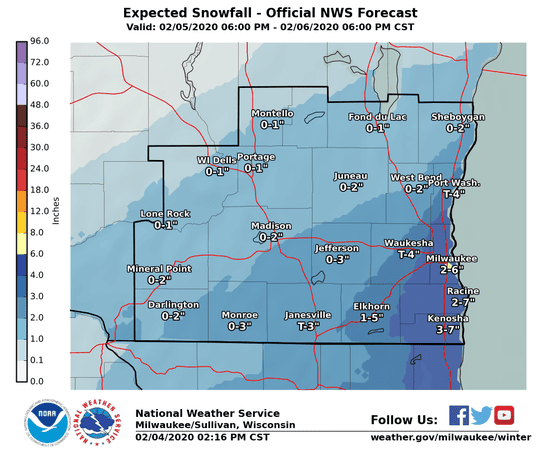 Snow ranging from trace to several inches could fall Wednesday into Thursday in far southern Wisconsin.