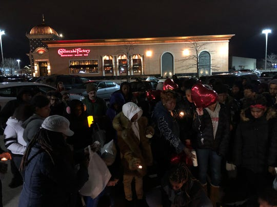 About 100 family members and friends of Alvin Cole gathered for a vigil in The Cheesecake Factory parking lot on Monday, Feb. 3, 2020, where Cole was pronounced dead just one night earlier.