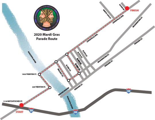The 2020 Krewe of Janus Mardi Gras Parade route