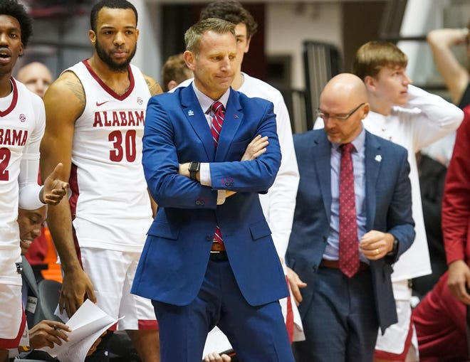 Feb 1, 2020; Tuscaloosa, Alabama, USA; Alabama Crimson Tide head coach Nate Oats reacts to his teams play against Arkansas Razorbacks during the first half at Coleman Coliseum. Mandatory Credit: Marvin Gentry-USA TODAY Sports
