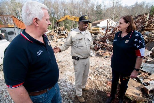 Jeff Kostichka, from left, Reuben Gardner and Christine Shavers check the site as demolition and renovation work is being done to turn a building on East Main, in Prattville, Ala., into a new home for American Legion Post 122, on Tuesday February 4, 2020.