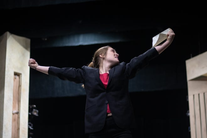 """Ingrid Schwartz, sophomore musical theater option, rehearses her role of Malvolio for Ball State University's production of Shakespeare's """"Twelfth Night."""""""