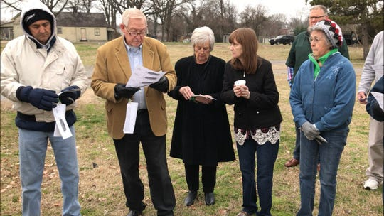 Greenhouse Ministries co-founder Cliff Sharp, second from left, stands where the nonprofit's new facility will be built. Standing alongside Sharp is wife Jane Sharp and their daughter, Candace Sharp, and left of Sharp is Bill Martin, and far right is Betty Markham.