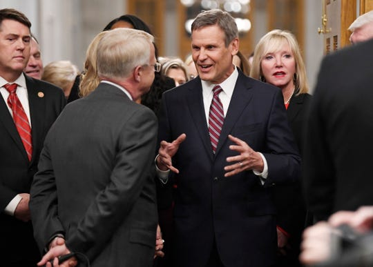 Gov. Bill Lee walks in to deliver his State of the State address at the state Capitol Monday, Feb. 3, 2020 in Nashville, Tenn.
