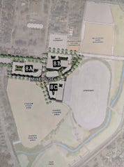Concept plan for The Fairgrounds Nashville as part of the MLS stadium deal. Three blocks of mixed-use development labeled by The Tennessean according to preliminary site plans.