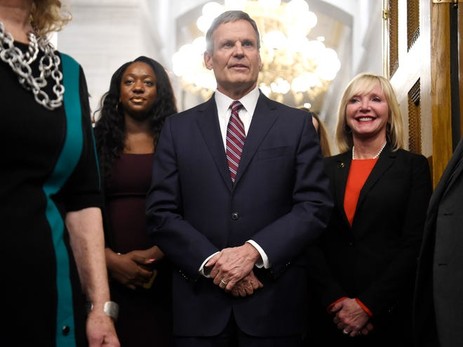 Gov. Bill Lee arrives to deliver his State of the State address at the state Capitol Monday, Feb. 3, 2020 in Nashville, Tenn.