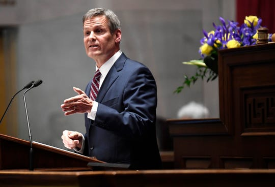 Gov. Bill Lee delivers the State of the State address on Feb. 3 in Nashville.