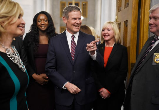 Gov. Bill Lee gestures as he walks in to deliver his State of the State address at the state Capitol Monday, Feb. 3, 2020 in Nashville, Tenn.