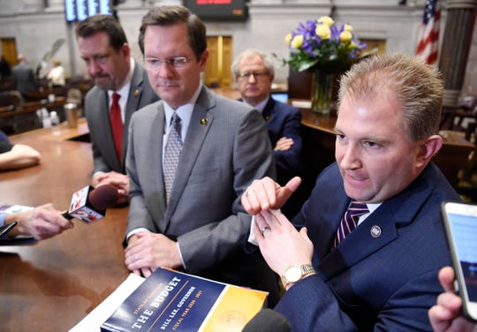 Speaker of the House Cameron Sexton, R-Crossville, and Rep. William Lamberth, R-Portland, speak to the media after the State of the State address at the state Capitol Monday, Feb. 3, 2020 in Nashville, Tenn.
