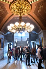 Participants mill around inside the TN State Capitol Building as they attend Disability Day on the Hill where members and allies of the disability community come together to advocate on behalf of the issues they care about  in Nashville, Tenn. Tuesday, Feb. 4, 2020.