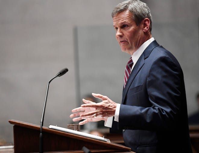 Gov. Bill Lee delivers the State of the State address at the state Capitol Monday, Feb. 3, 2020 in Nashville, Tenn.
