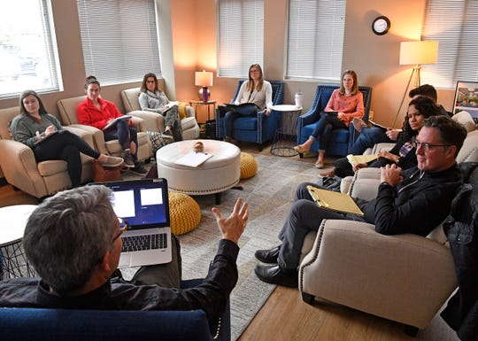 Pike Williams leads a training session for counselors at the Refuge Center for Counseling, which is the largest provider of therapy to Williamson County residents, on Tuesday, Feb. 4, 2020, in Franklin.
