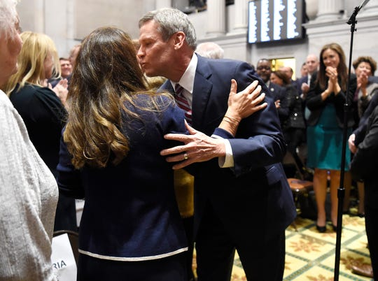 Gov. Bill Lee kisses his wife Maria before delivering his State of the State address at the state Capitol Monday, Feb. 3, 2020 in Nashville, Tenn.