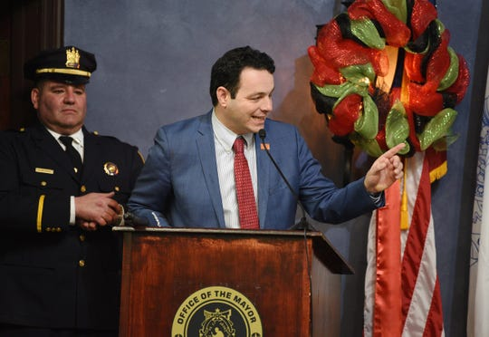 """Paterson Mayor Andre Sayegh speaks during the Swearing In Ceremony of Paterson's new Police Chief, Ibrahim """"Mike"""" Baycora, at Council Chambers in Paterson City Hall on 02/04/20. Mitsu Yasukawa/Northjersey.com"""
