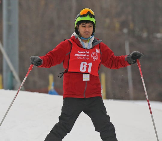 Audrin Pajarillo of Edison competes in the skiing competition at the Special Olympics 2020 Winter Games held at Mountain Creek in Vernon on February 4, 2020.
