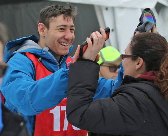 Joseph Capoziello of Bayville after winning his heat in the snowshoe racing competition at the Special Olympics 2020 Winter Games held at Mountain Creek in Vernon on February 4, 2020.